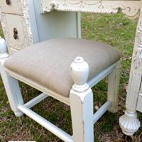 Painted vanity with stool made from a repurposed foot board.